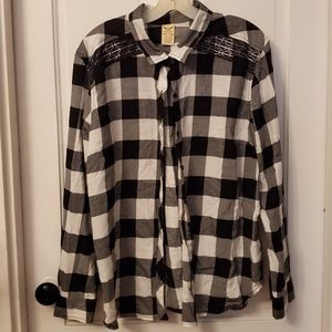 Embroidered black & white flannel top